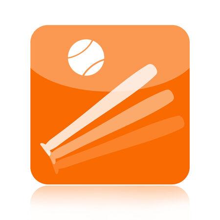 hardball: Baseball icon with bat and ball isolated on white background
