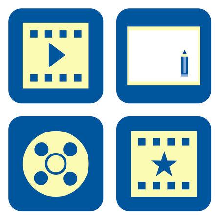 Movie production icon set isolated on white background photo