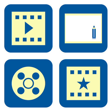 home video: Movie production icon set isolated on white background