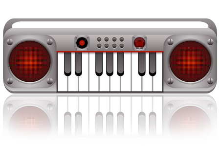 synthesizer: Synthesizer musical instrument illustration isolated on white background Stock Photo