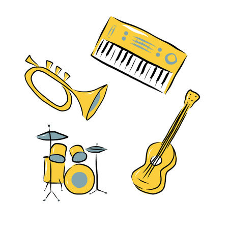 Trumpet, electric piano, acoustic guitar and drum kit, musical instruments doodles over white background photo