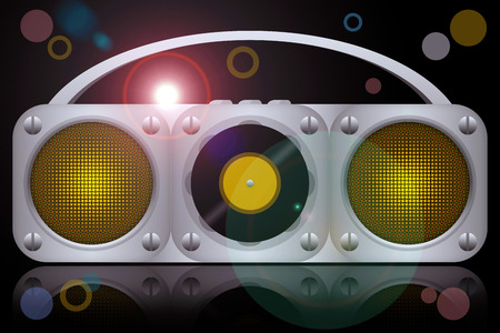 boombox: Vinyl disc boombox music player at the night club disco party Stock Photo