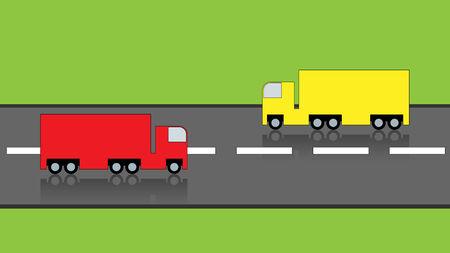 semitrailer: Trucks on highway, vector illustration Illustration