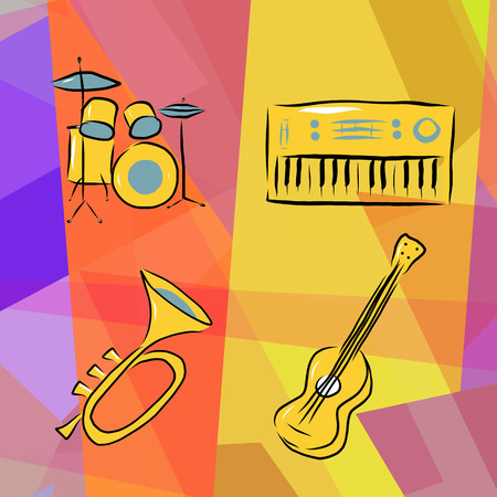 drumset: Musical instruments background with drums, trumpet, acoustic guitar and electric piano