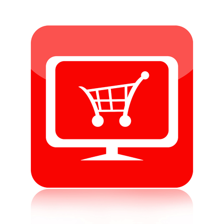 Online store icon with shopping cart on computer monitor isolated on white background photo
