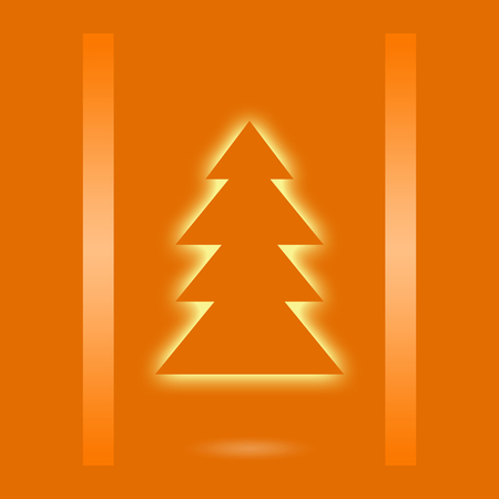 x mass: Orange Christmas design with xmas tree Stock Photo