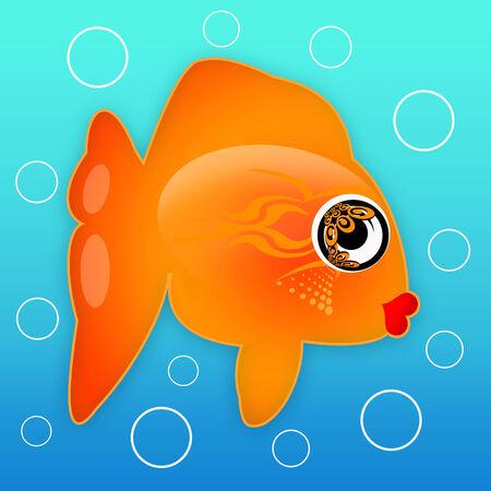 Exotic golden fish underwater photo
