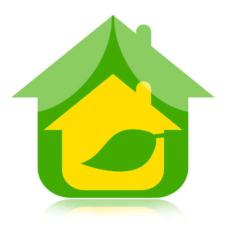 Eco house with green leaf, environmentally friendly concept photo