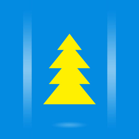 x mass: Christmas design with yellow Christmas tree on blue background