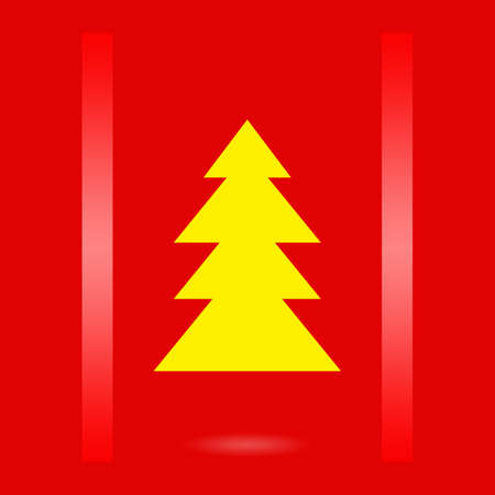 xmass: Christmas design with christmas tree on red background Stock Photo