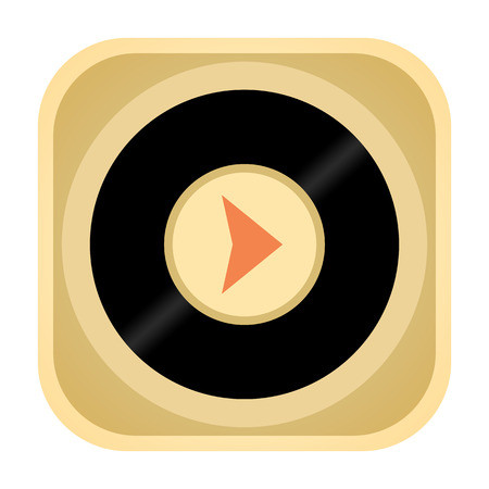 discs: Vinyl record music audio player retro icon isolated on white background Stock Photo