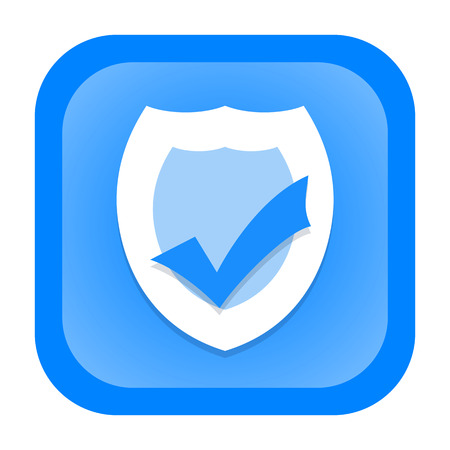 security icon: Antivirus icon with protection shield and checkmark isolated on white background