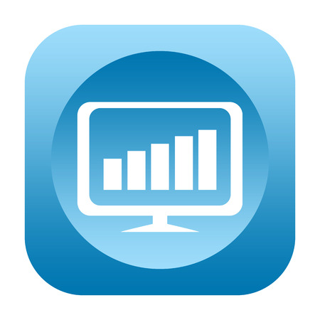 upraise: Business chart on computer monitor icon Stock Photo
