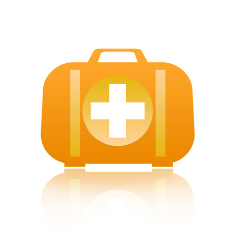 firstaid: First aid kit isolated on white background Stock Photo