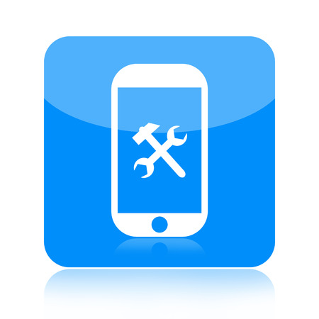 debug: Smartphone and repair tools icon isolated on white