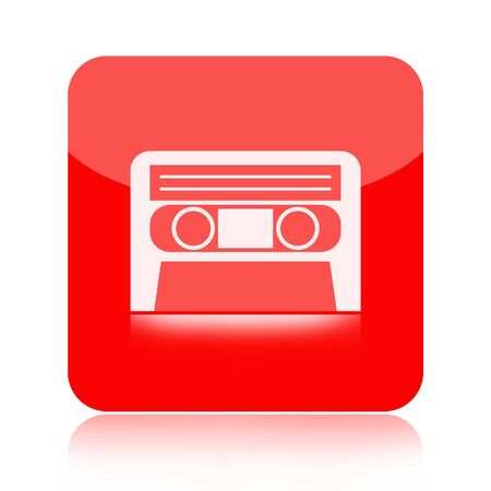 audiotape: Audio cassette tape red icon isolated on white background