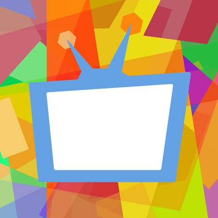 show: Funny retro TV, colorful photo frame on abstract background