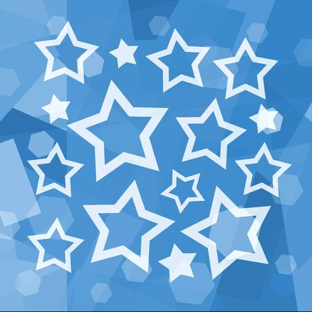 x mas parties: White stars on blue background Stock Photo