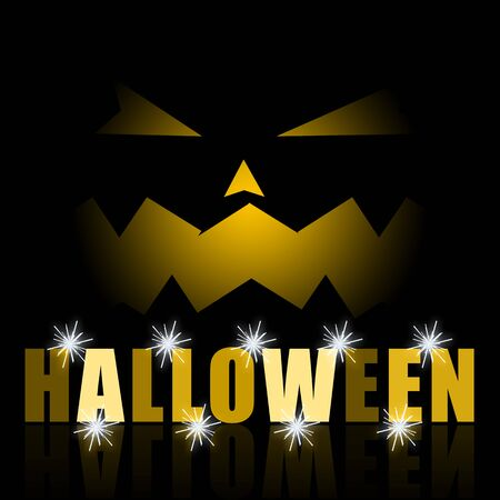 scary pumpkin: Halloween scary pumpkin black night background