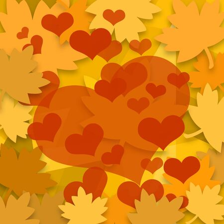 sweethearts: Falling autumn leaves and red love hearts background