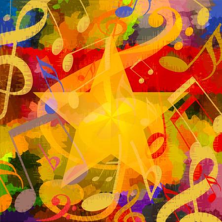 Lichte muziek achtergrond met muzieknoten en grote ster Stockfoto