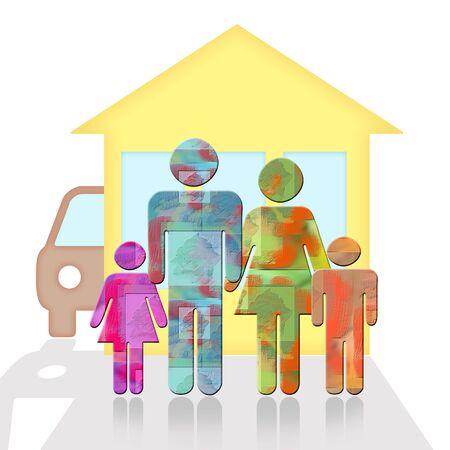 demografia: la familia feliz que se une cerca de la nueva casa y el coche Foto de archivo
