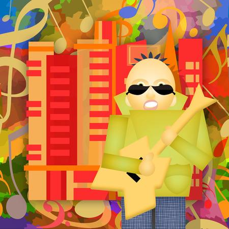 thrash: Rock city, guitar player plays music on the urban street, abstract art illustration