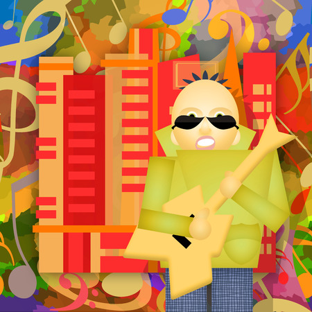 Rock city, guitar player plays music on the urban street, abstract art illustration