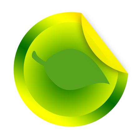 white sticker: Green leaf sticker on a white background