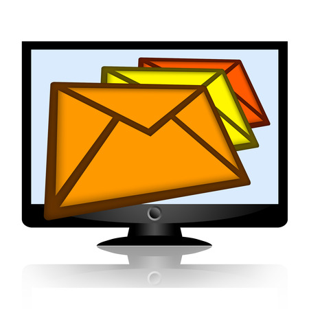 unanswered: Mail envelopes or email messages falling from the computer monitor isolated on white background Stock Photo