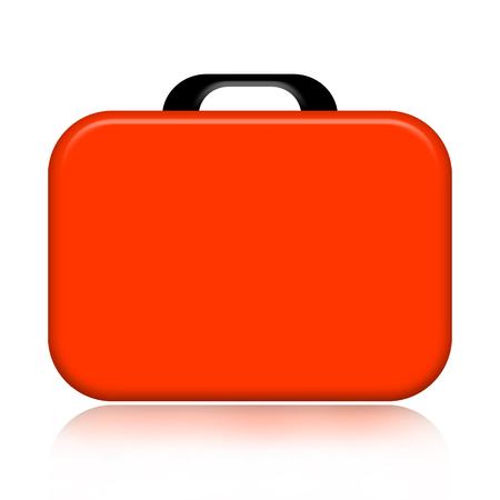 valise: Orange case illustration isolated on white background