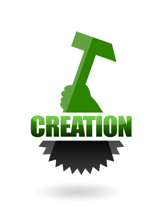 Creation symbol with cogwheel and hammer Фото со стока