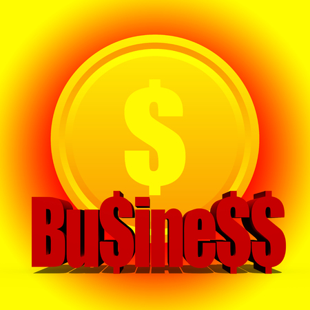 profitable: Profitable business concept with lucky golden dollar