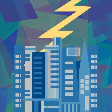 thundershower: Lightning storm over modern city, abstract art illustration