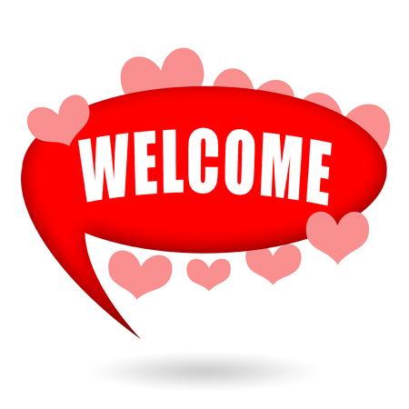 amabilidad: Bienvenido, burbuja de discurso con corazones Foto de archivo
