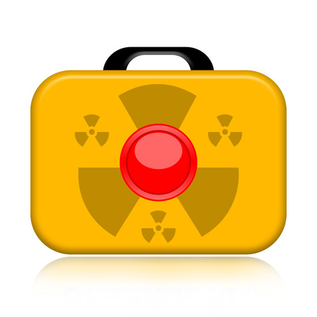 Nuclear suitcase with big red button isolated on white background