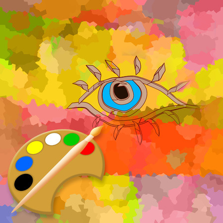 Make up, abstract eye, brush and palette Фото со стока