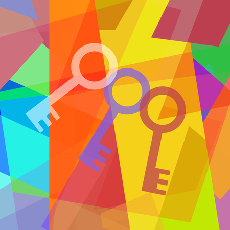 stage door: Three keys on abstract background in cubism