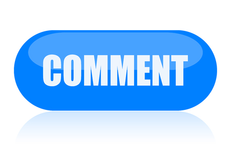 Comment blue oval web button isolated on white background Stock Photo