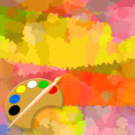 PALETA: Painting background with paint brush and palette Foto de archivo