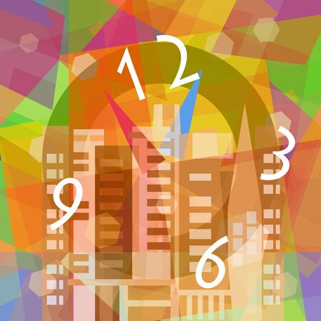 Time travel, fantastic clock in the city, abstract art illustration