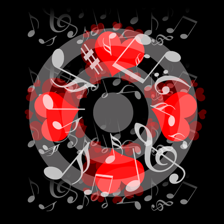ballad: Love hearts and musical notes on black background