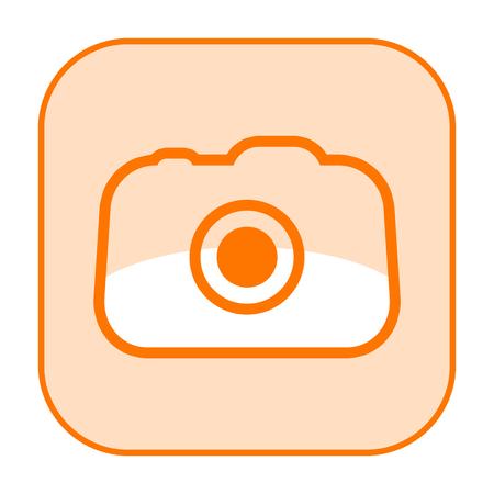 Photo camera orange icon isolated on white background Stock Photo