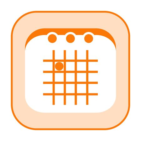 Calendar orange sumply styled icon isolated on white background