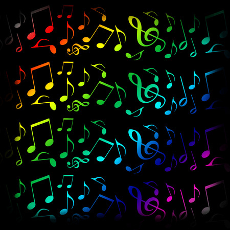 Music background with colorful musical notes Stock Photo