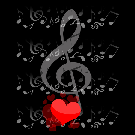 Music and love, musical notes and romantic hearts