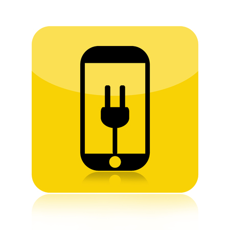 Smartphone battery recharge icon isolated on white background