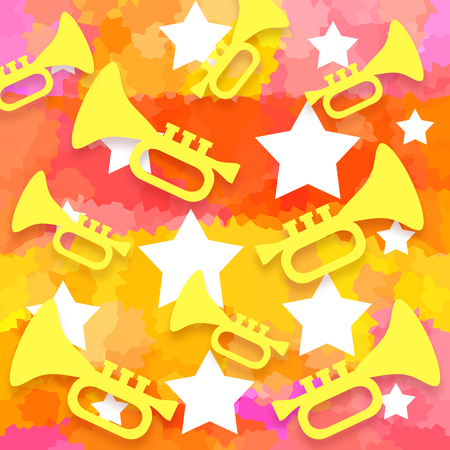 Trumpets and stars on a bright colorful music background
