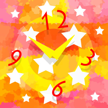 Magic clock and stars on abstract bright colorful background Stock Photo