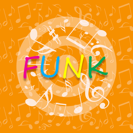 Funky music bright background with dancing musical symbols